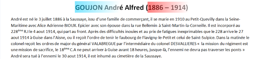 Mort GOUJON Andre Alfred texte