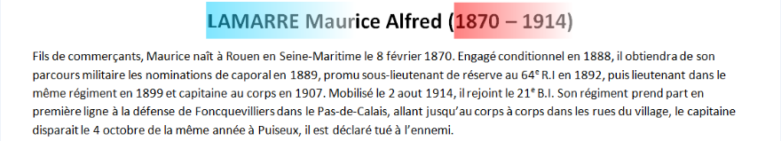 Mort LAMARRE Maurice Alfred texte